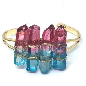 Pink and Blue Aura Quartz Bracelet for Healing